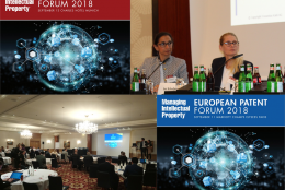 European Patent Forum, à Paris le 11 septembre  et Munich le 13 septembre 2018